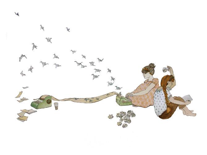 Ilustración en la que aparecen dos chicas sentadas. Una arroja folios arrugados y otra teclea en una máquina de escribir de la que huyen volando pajaritas de papel
