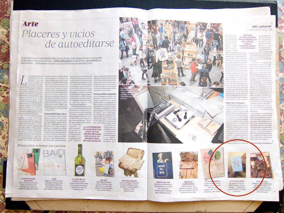 """Suplemento """"El cultural"""" del diario ABC, 20/04/2013"""
